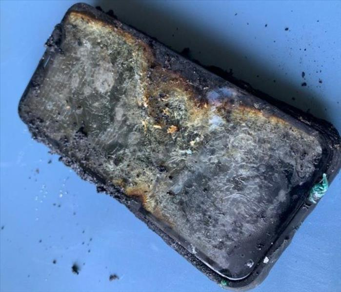 fire damaged mobile phone