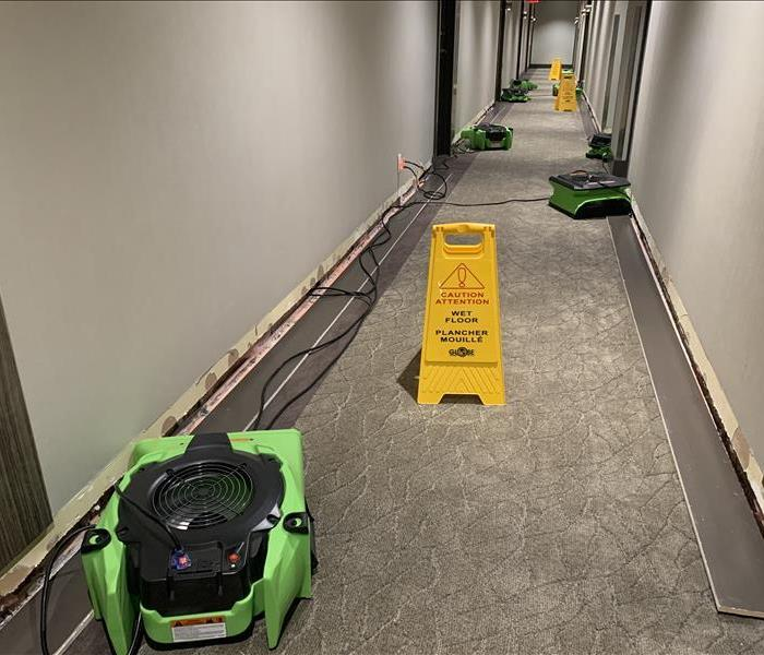 Water damage in the condominium hallway affected 3 floors in Toronto